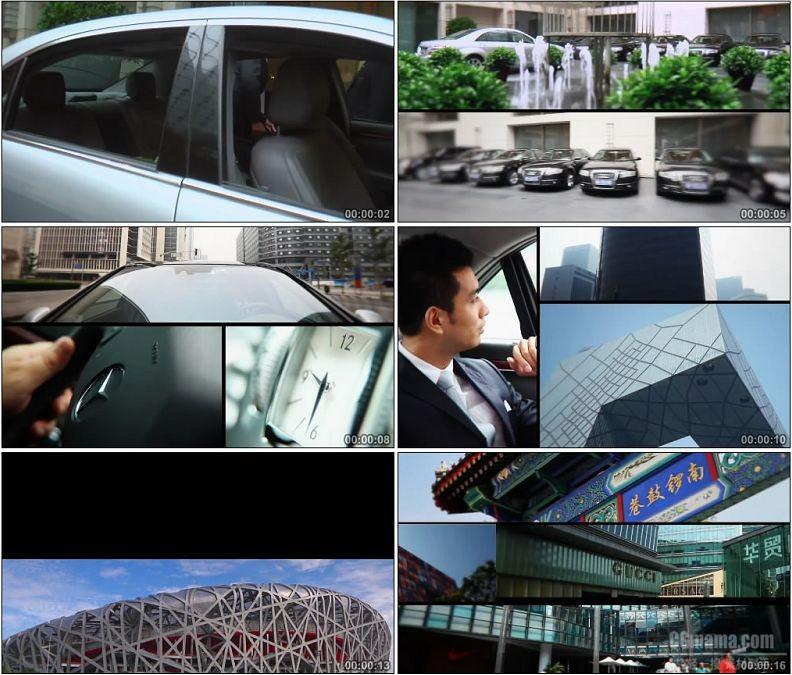 YC1912-商务人士代驾坐车浏览北京风光高清实拍视频素材
