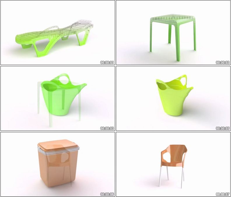 YC1919-塑料制品三维模型展示垃圾桶水壶椅子高清视频素材