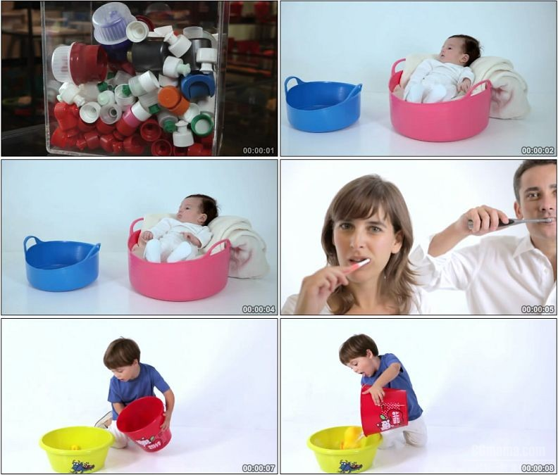 YC1920-塑料制品牙刷塑料桶儿童玩水刷牙高清实拍视频素材