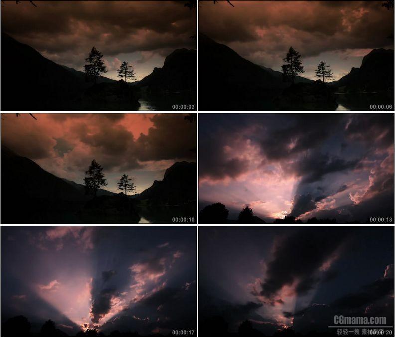 YC1925-天空红色云彩晚霞自然风光高清实拍视频素材