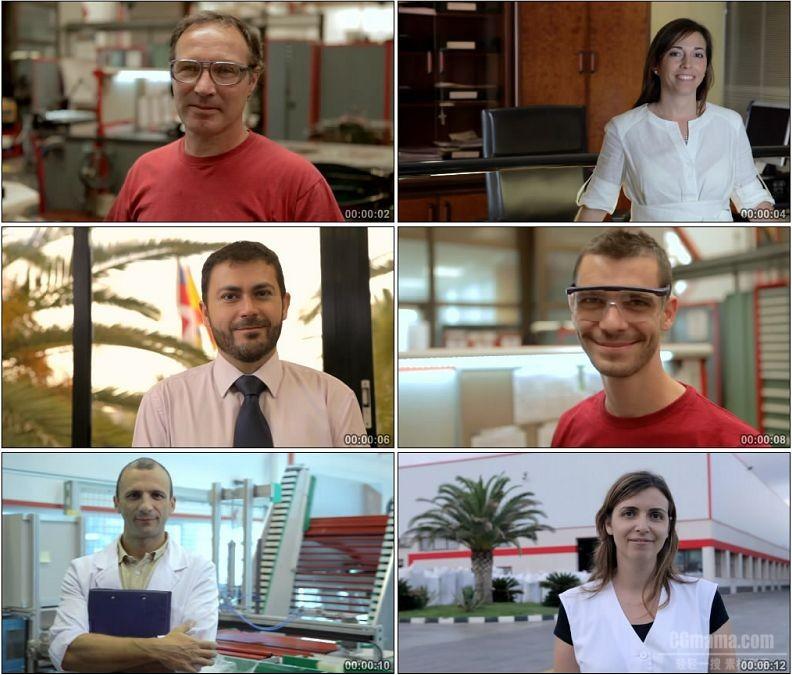 YC1929-外国人各个阶层商人工人经理科学家男人女人笑脸微笑高清实拍视频素材