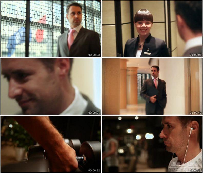 YC1931-外国商务男士打电话入住酒店运动健身高清实拍视频素材
