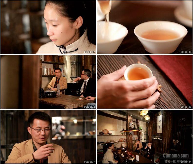 YC1960-茶楼茶馆茶艺师泡茶沏茶茶友品茶喝茶高清实拍视频素材