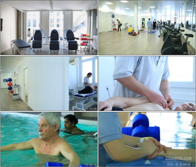 YC1966-国外骨科康复医院医疗设备条件游泳按摩复健高清实拍视频素材