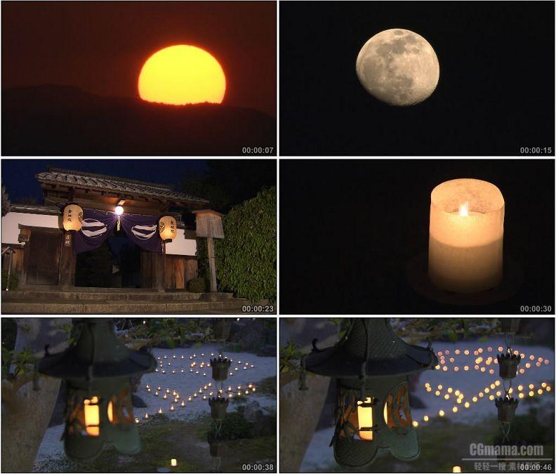 YC2002-夕阳落日圆月水上烛灯高清实拍视频素材