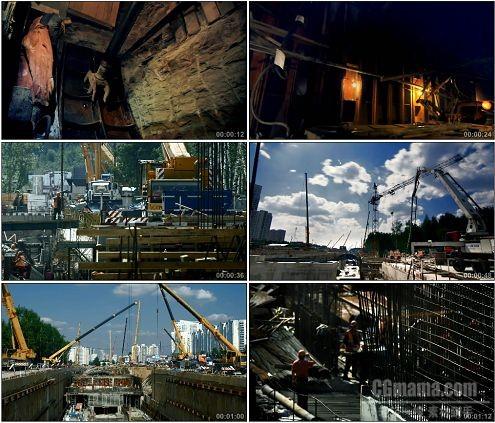 CG0061-实拍国外地铁站的建设施工工人高清实拍视频素材