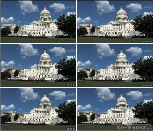 CG0099-美国国会大厦白宫大城市风貌高清实拍视频素材