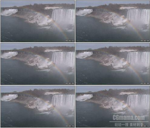 CG0101-尼亚加拉大瀑布上横亘的彩虹自然景观高清实拍视频素材