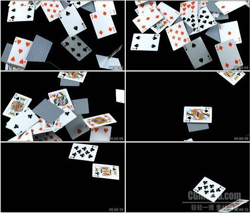 CG0107-下落的扑克牌特写慢动作高清实拍视频素材