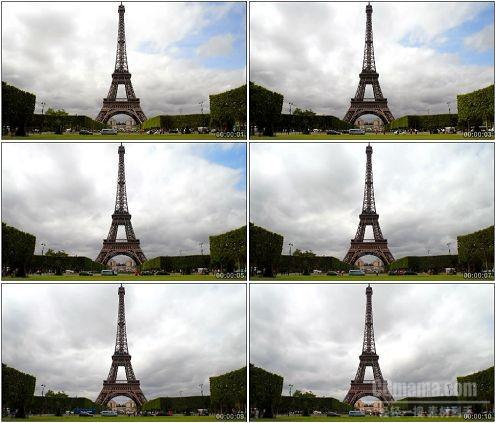 CG0136-埃菲尔铁塔下的快速人物车流高清实拍视频素材