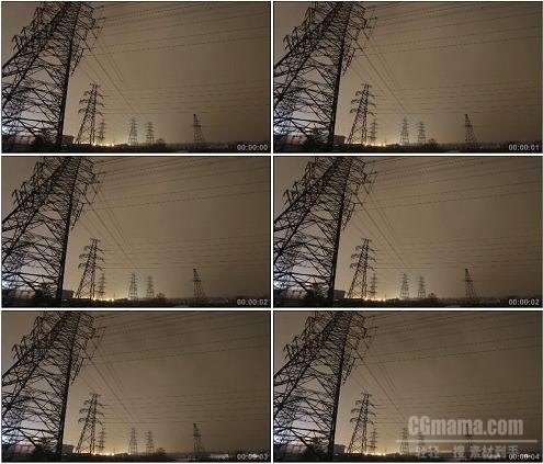CG0158-电力铁塔电塔电线夜景高清实拍视频素材