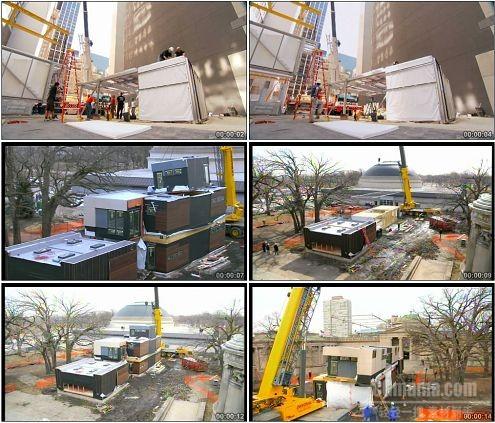 CG0167-2组工人快速组装叠加集装箱高清实拍视频素材