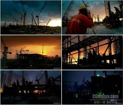 CG0169-夜晚工人测量组建钢架结构吊车建设高清实拍视频素材