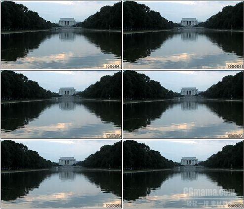 CG0172-湖面远眺美国林肯纪念馆高清实拍视频素材