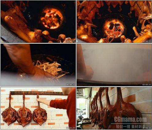 CG0201-烤好的鸭子饭店烤鸭并排挂在墙上高清实拍视频素材