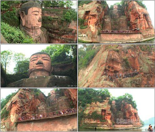 CG0229-四川乐山大佛古建筑旅游风光高清实拍视频素材