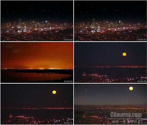 CG0232-城市全景夜景月亮升起时间快速流逝高清实拍视频素材