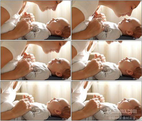 CG0242-母子温情妈妈小婴儿宝贝亲吻高清实拍视频素材