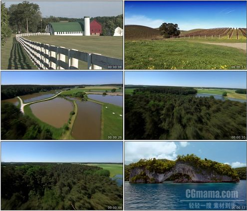 CG0246-野外草原房屋湖面森林航拍水面高清实拍视频素材