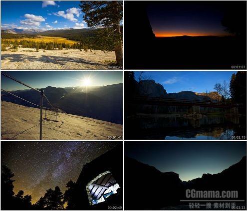 CG0248-秋天树林山峰夜光流行星空美景高清实拍视频素材