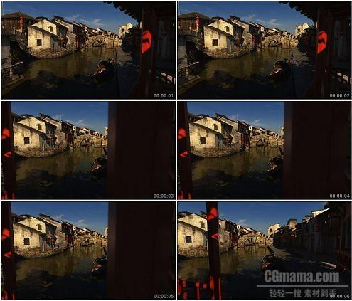 CG0249-江南水乡小镇徽居乌篷船高清实拍视频素材