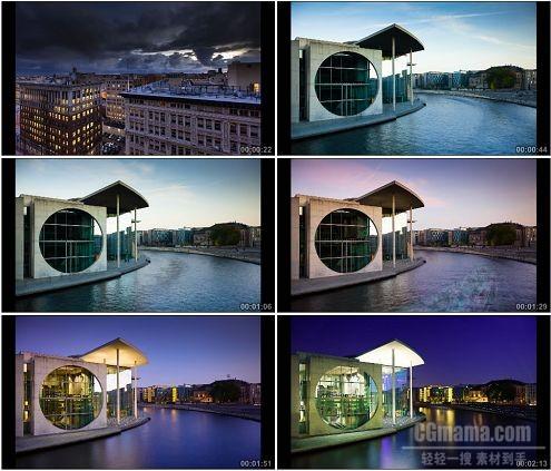 CG0252-城市标志建筑由白到黑风景高清实拍视频素材