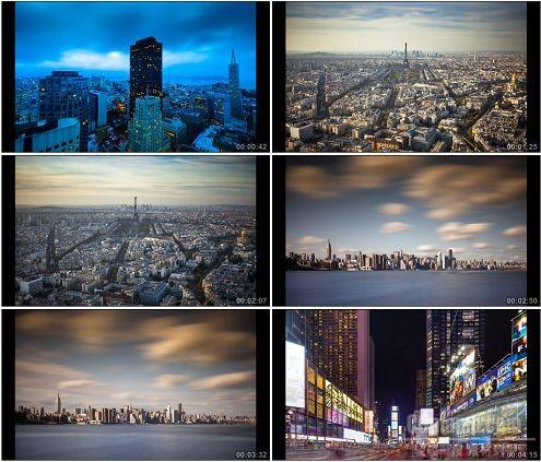 CG0254-法国巴黎埃菲尔铁塔城市灯火美景高清实拍视频素材