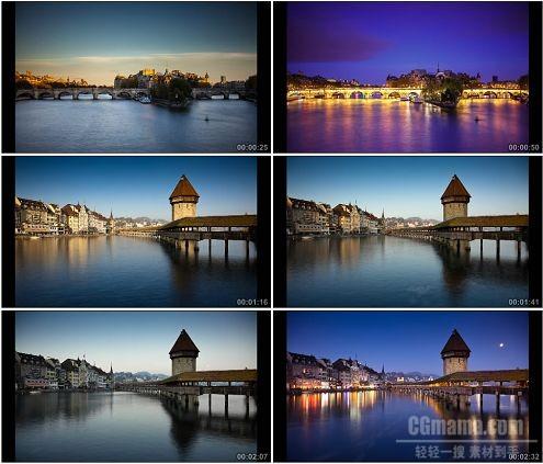 CG0256-国外城市美丽小镇从清晨到黑夜美景高清实拍视频素材