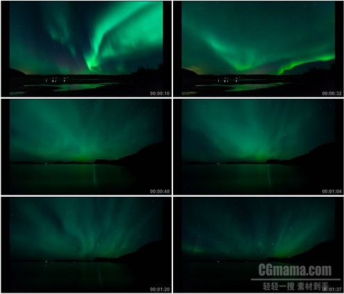 CG0263-美丽绚烂的绿色极光自然景色高清实拍视频素材