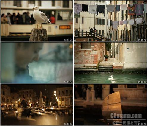 CG0283-威尼斯水城丰富的水上划船码头景夜生活高清实拍视频素材