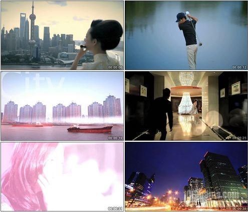 CG0287-繁华的上海世茂旅遊城市商务大楼街道灯光夜景高清实拍视频素材