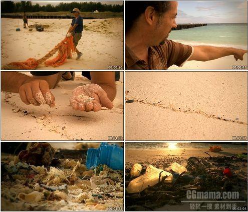 CG0299-塑料污染的海滩捡塑料垃圾镜头环保高清实拍视频素材