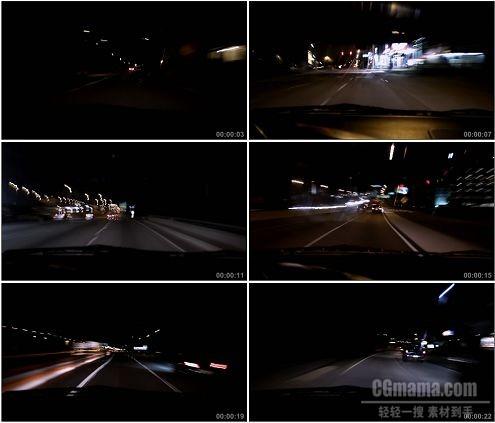 CG0315-公路上快速行驶车辆夜景高清实拍视频素材