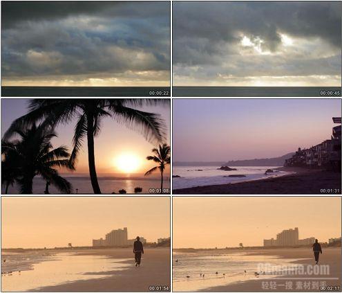 CG0327-云层快速流动夕阳海滩椰林海水美丽风景高清实拍视频素材