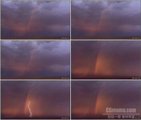 CG0334-自然奇观闪电加彩虹高清实拍视频素材