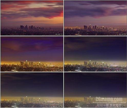 CG0336-延时摄影洛杉矶城市的时间变幻高清实拍视频素材