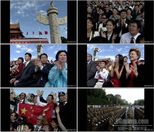 CG0338-60周年庆典天安门广场上华表标清整齐方队高清实拍视频素材