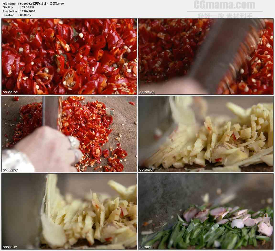 FD10062-切菜剁辣椒末姜末高清实拍视频素材