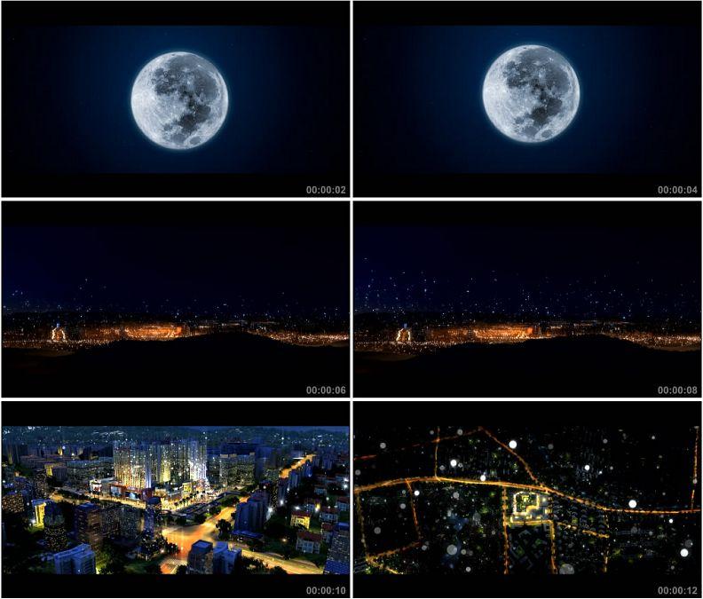 YC1599-唯美月色月亮城市星光灿烂高清实拍视频素材