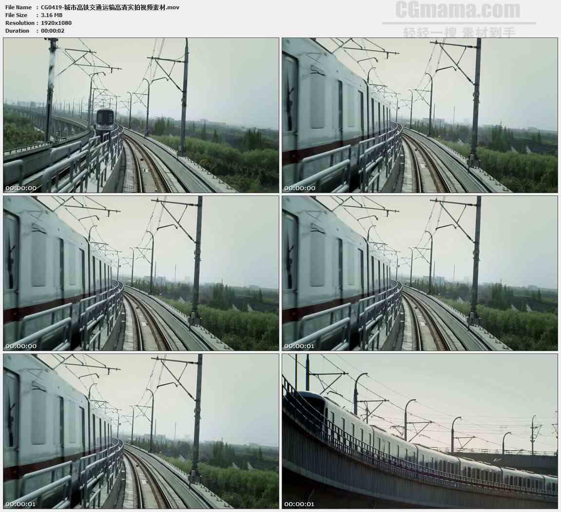 CG0419-城市高铁交通运输高清实拍视频素材
