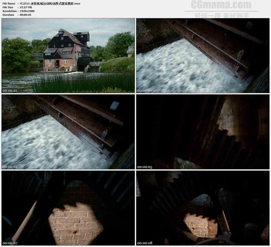 YC2511-水轮机械运动转动西式建筑楼房高清视频素材