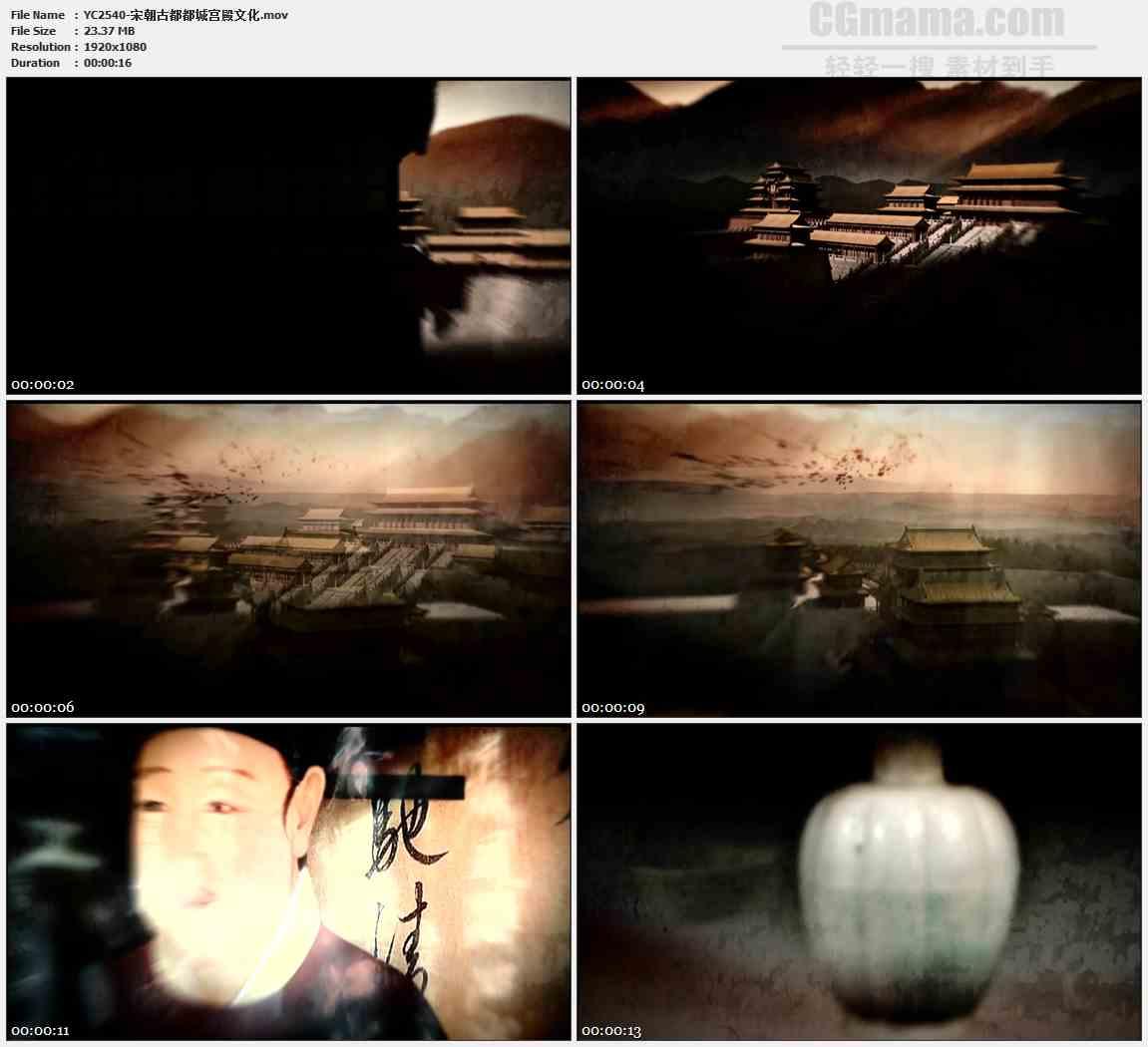 YC2540-宋朝古都都城宫殿文化高清视频素材