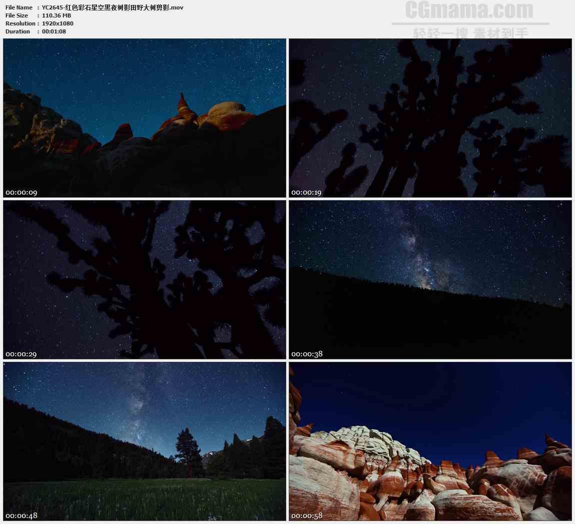 YC2645-红色彩石星空黑夜树影田野大树剪影高清实拍视频素材