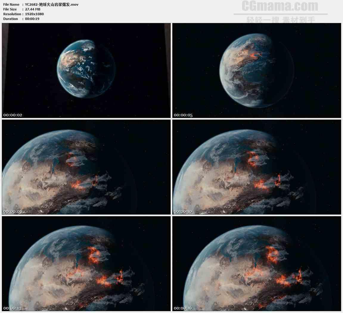 YC2682-地球火山岩浆爆发高清实拍视频素材
