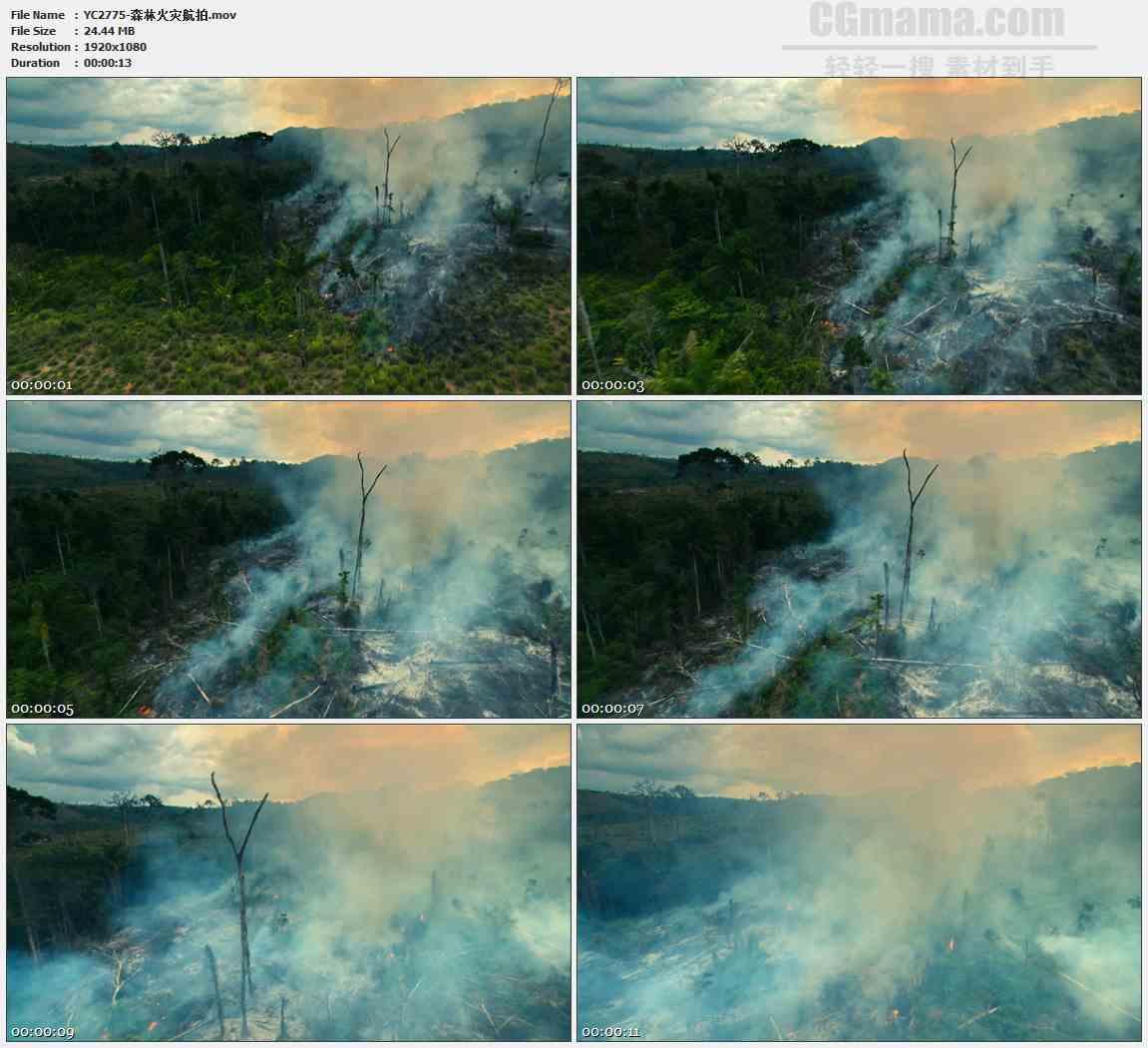 YC2775-森林火灾航拍高清实拍视频素材