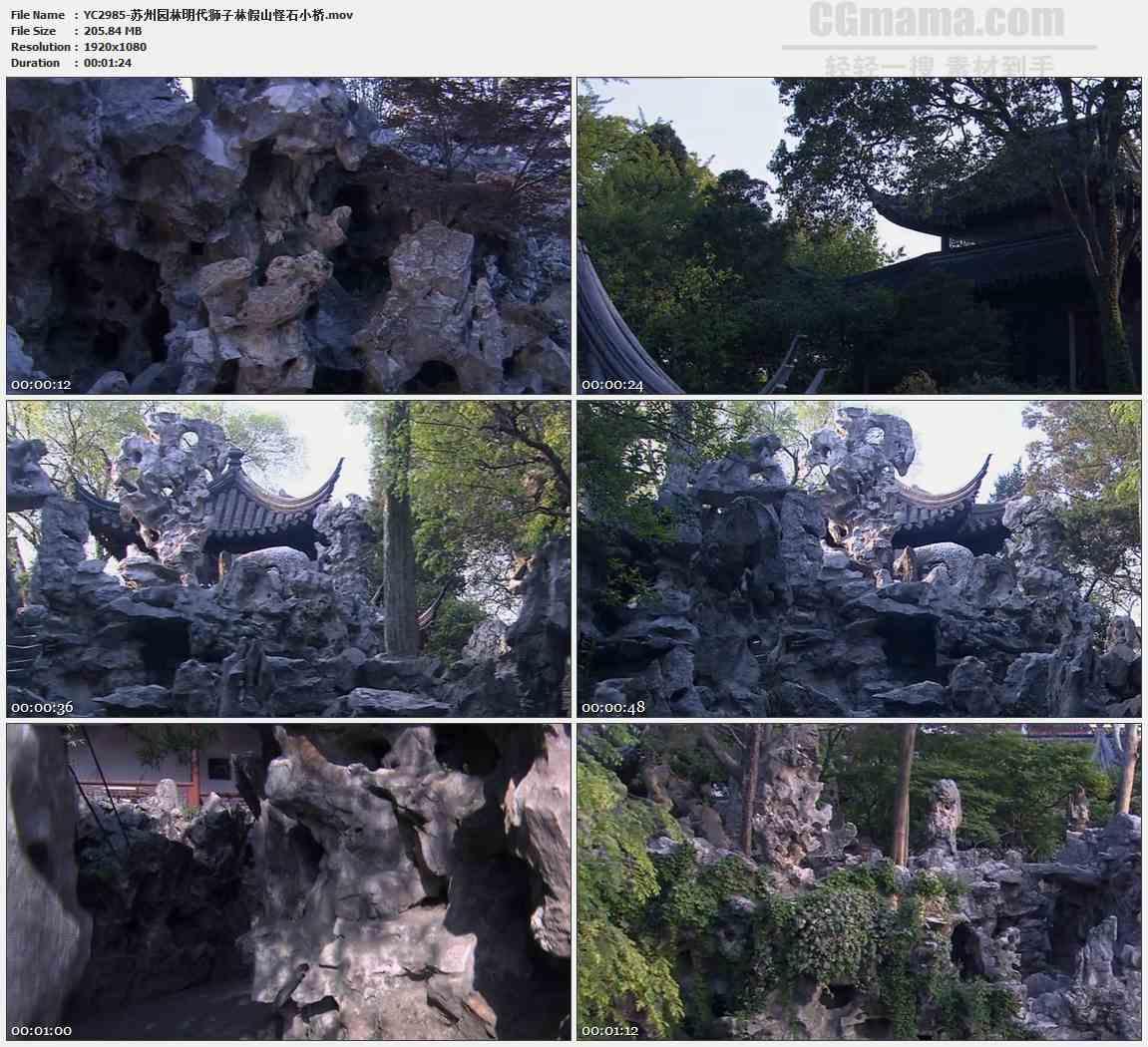 YC2985-苏州园林明代狮子林假山怪石小桥高清实拍视频素材
