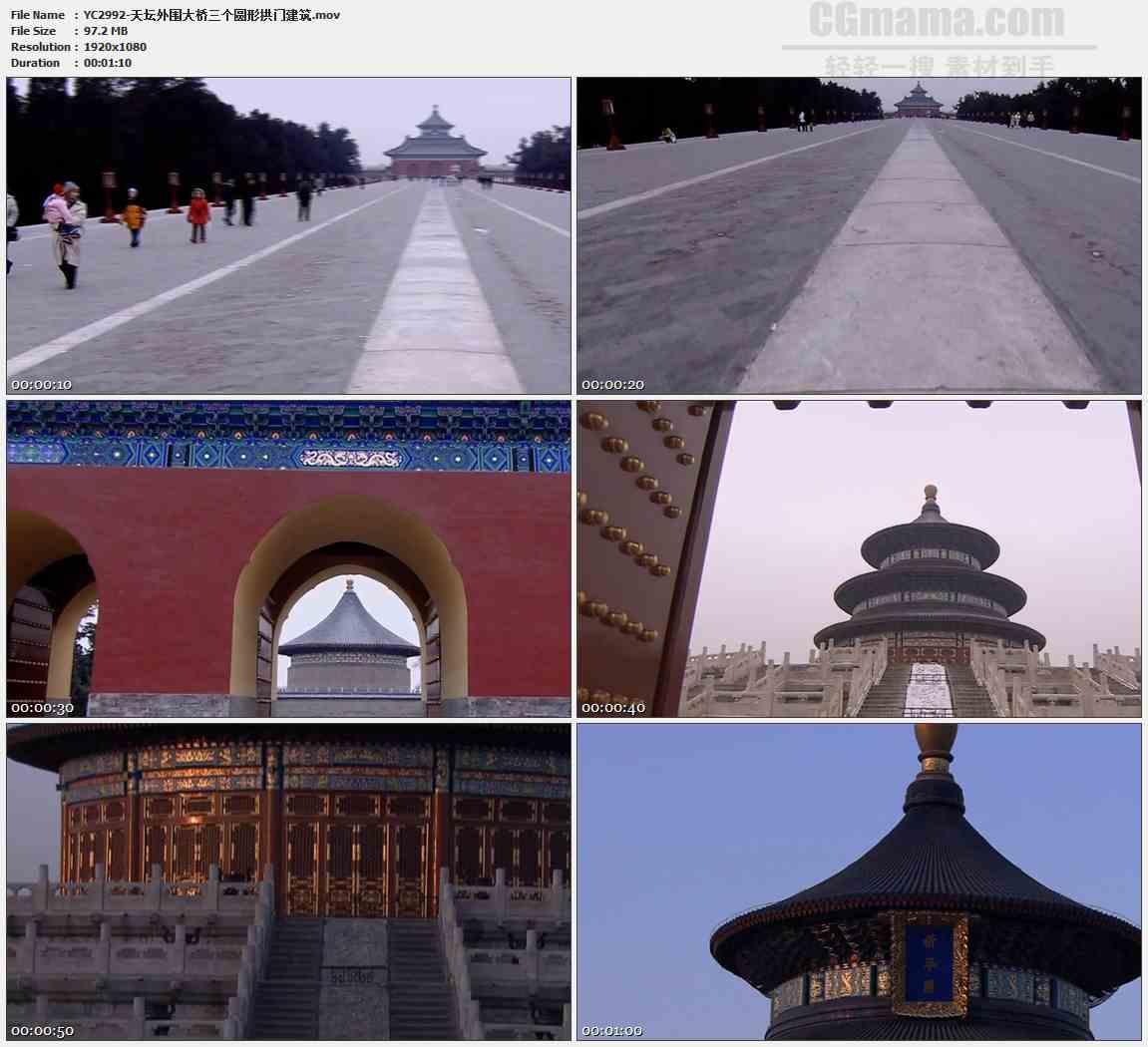 YC2992-天坛外围大桥三个圆形拱门建筑高清实拍视频素材
