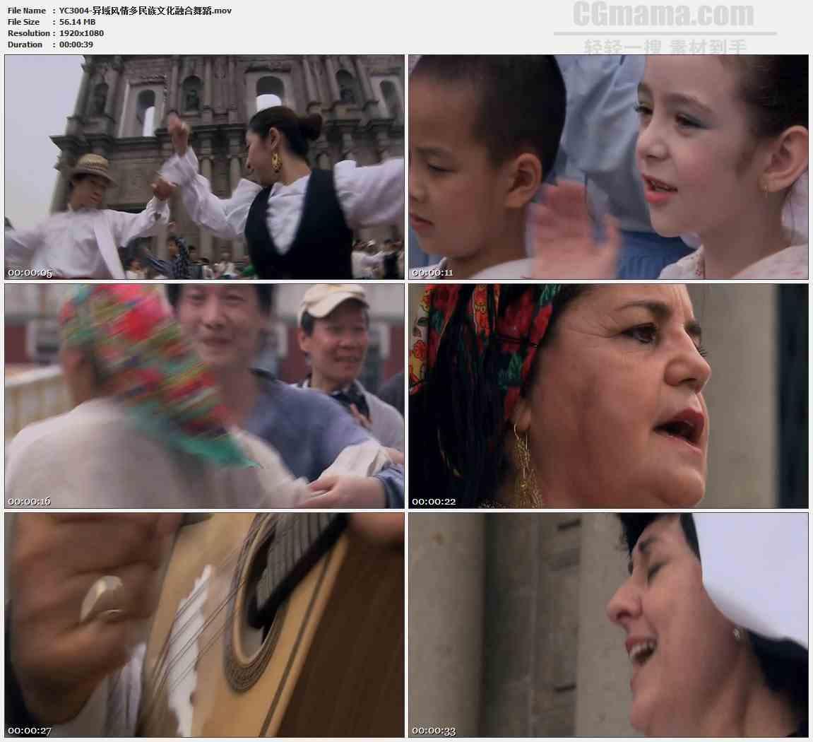YC3004-异域风情多民族文化融合舞蹈高清实拍视频素材