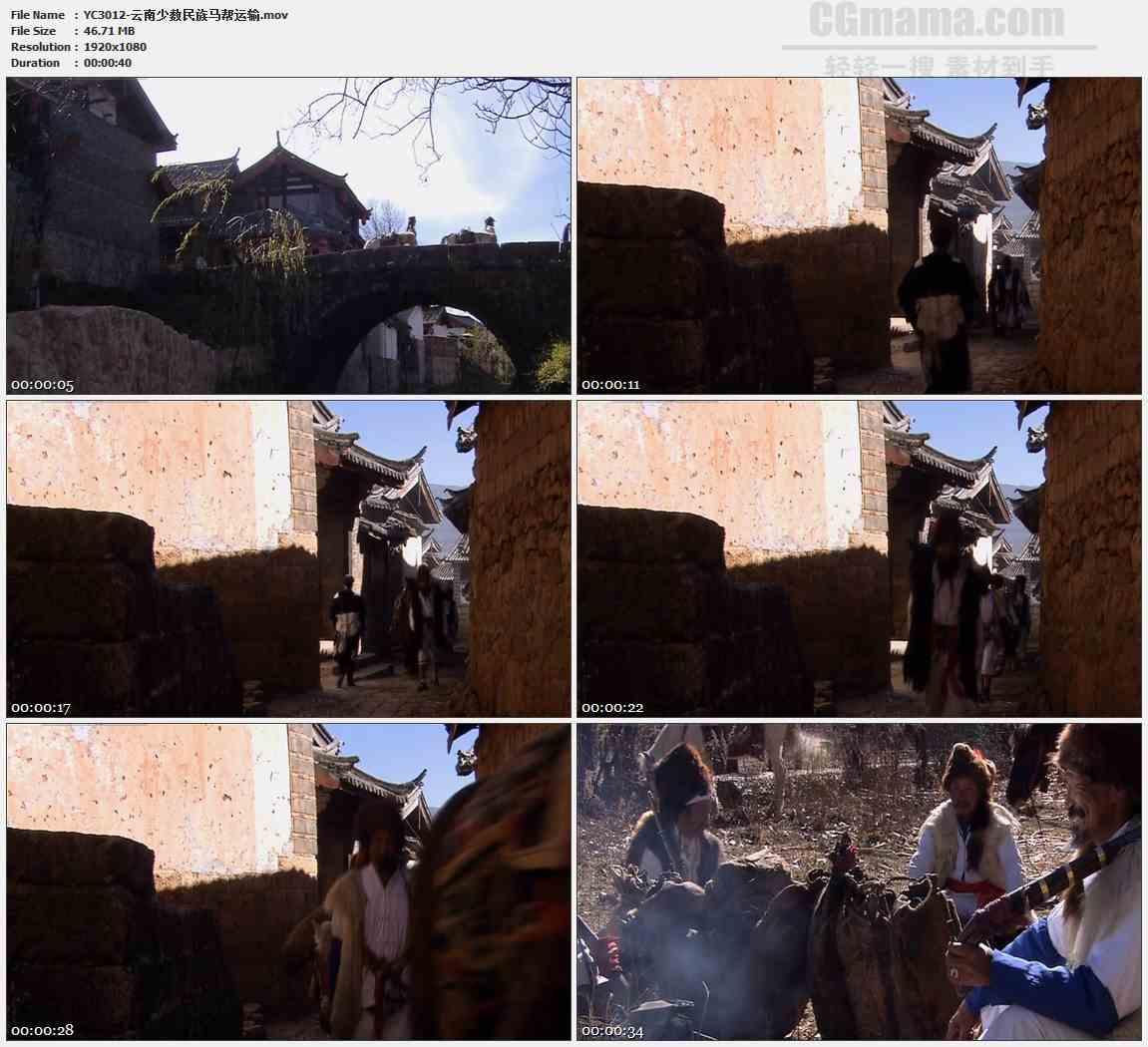 YC3012-云南少数民族马帮运输高清实拍视频素材