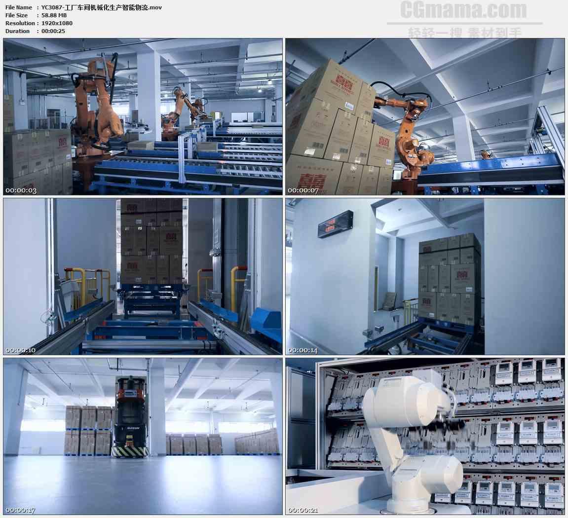 YC3087-工厂车间机械化生产智能物流高清实拍视频素材